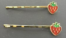 Vintage Hair Pins - Pair of Glossy Red Strawberry Bobby Pins