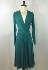 Michael Kors Dress Sz 10 Faux Wrap Polyester Jersey Stretch Deep V Green