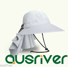 Women Grey Jungle Fishing Hat Cap Face Protector Neck Cover Flap Sun Protection