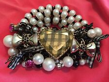 Betsey Johnson Vintage Lucite Black & White Checkered Heart Bow Pearl Bracelet