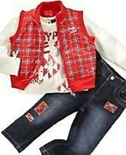 NEW BABY PHAT 3 PIECE OUTFIT 24 MONTHS RED VEST JACKETOP JEANS AUTHENTIC