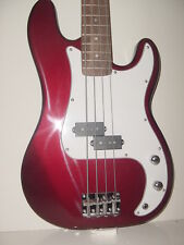"""NEW 46"""" FULL SIZE 4 STRING METALLIC RED ELECTRIC BASS GUITAR WITH GIG BAG CASE"""