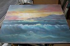 Old Plein Air ORIGINAL OIL ART PASTEL PAINTING~SEASCAPE~RARE HAWAIIAN Sunset Sea