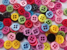 100 x 9mm ROUND RESIN BUTTONS - MIXED COLOURS - 4 HOLE