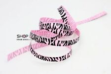 New hot 5YDS 3/8' Printed Zebra Pink Grosgrain Ribbon Hair bow DIY Craft
