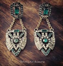 Stunning white & green crystal Gatsby chandelier cocktail statement earrings