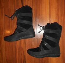 WOMENS STUNNING NEW RETRO ROPE DESIGN BLACK FLAT ANKLE BOOTS: UK SIZE 3 (36)