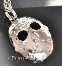 Friday The 13th Jason Voorhees Hockey Mask W Long Chain Necklace Unisex Silver