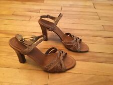 Cole Haan Brown & Gold Strappy Block Heeled Sandals w/ Buckles, Size 9.5