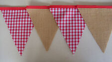Red Gingham & Hessian Bunting Wedding Bedroom Birthday party decoration Gift 2mt