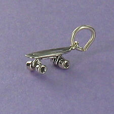 Skateboard Charm Sterling Silver 925 for Bracelet or Necklace Tiny Longboard