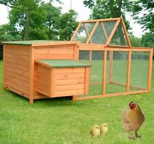 "Pawhut 86.6"" Wood Poultry Chicken Coop Hen House Hutch Backyard Run Nesting"