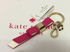 NEW Kate Spade Leather Bow Key Chain Ring Fob Charm Sweetheart Pink/Cream