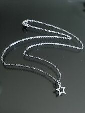 "Tiny Stainless Steel Silver Star Charm Pendant Choker Necklace--Short 15"" Chain"