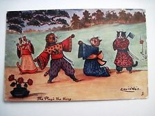 "Vintage ""TUCK"" Postcard by ""Louis Wain"" w/ Cats Dressed in Kimono's Fighting *"