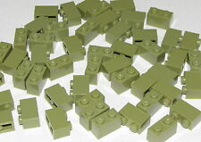 Lego Lot of 50 New Olive Green Bricks 1 x 2 Dot Pieces Building Blocks Parts