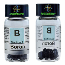 Boron Element 5 Sample Crystals 0,5 grams 99,99% in glass vial with label
