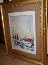 VINTAGE FRAMED SIGNED ORIGINAL OIL PAINTING WINTER SNOW SCENE 26 1/2 X 32 1/2