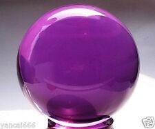 80mm+Stand Asian Rare Natural Quartz Purple Magic Crystal Healing Ball Sphere