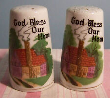 """Ceramic God Bless Our Home Salt and Pepper Shakers 2 7/8"""""""