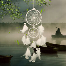 Handmade Dream Catcher with Ehite Feather Wall  Car Hanging Decoration Ornament