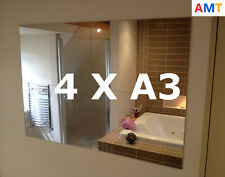 4 X Acrylic Mirror Tiles A3 420x297mm Bathroom / Bedroom Perspex Safety Mirrors