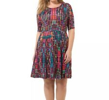 Triste By Gwynnie Bee Colorfully Pixelated Fit & Fare Dress Size 1X (14/16)