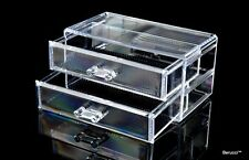 Clear Acrylic Jewelry Makeup Cosmetic Organizer Storage  - 2 Drawer 7x6x4 inches