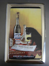 Absinthe D 01 Metal Silver Cigarette Case Vintage Alcohol Bad Rebel Black Cat