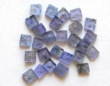 25 PIECES IOLITE BEADS FLAT SQUARE 3.5 - 4 MM NATURAL GEMSTONE 9 CTS #3536