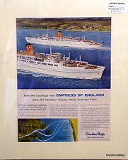 Original Vintage Advert mounted ready to frame Canadian Pacific Cruise Ship 1956