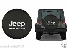 "Black Jeep Wrangler Logo Spare Tire Cover Wheel R16 30""-31"" New Free Shipping"