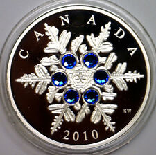 CANADA 2010 CRYSTAL SNOWFLAKE $20 SILVER PROOF QUALITY BLUE ELEMENTS LIMITED