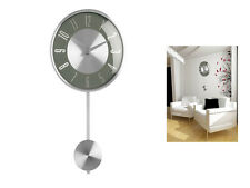 GREY PENDULUM WALL MOUNTED CLOCK POLISHED CHROME EFFECT DECORATIVE MODERN HOME