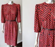 Retro Punk Vintage 80s Striped Semi Sheer Layering Secretary Belted Dress Sz M