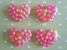 4 x Pretty Clear Heart with Pearl Flatback Resin,Embellishment Cabochon, Crafts