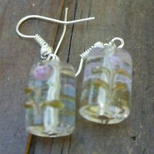 Glass beads charm earrings, clear w/floraL design, silver color, handmade
