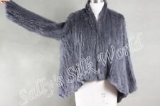 NEW 100% RABBIT FUR SWING LONG SLEEVED JACKET CHARCOAL GREY Free Size