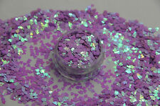 Valentines Nail Art Heart Shape Spangles Glitter Holographic Sugared Lilac