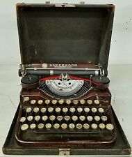VINTAGE UNDERWOOD STANDARD PORTABLE FOUR BANK KEYBOARD TYPEWRITER WITH CASE, RED