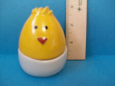 Whimsical Two Piece Smiling Egg Stacked Novelty Salt & Pepper Shakers NIB ST7B1