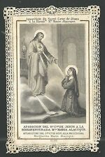 Estampa de Puntilla Canivet de Santa Maria de Alacoque santino holy card santini