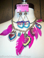 Betsey Johnson Pink Feathers Snake Charm Rhinestone Statement Necklace Earrings