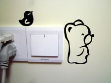 1 Pcs Black Switch Stickers Bear and Bird Pattern Bedroom Parlor Wall Sticker