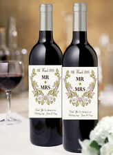 Classic Personalised wine bottle labels for wedding gifts Thankyou presents x 12