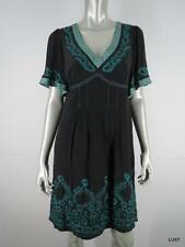 $398 NANETTE LEPORE 8 M 100% Silk Black Green Multi Embroidered Femme Sexy Dress