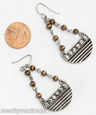 Chico's Earrings Silver Tone Chain Gold Bead Crystal Dangles