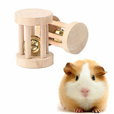 Natural Wood Chew Toys Bell Roller Dumbells For Pet Rabbits Hamsters Rat 1PC