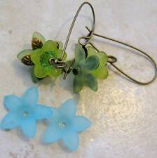 THIRTY Lucite Acrylic 5 Petal Star Flower Cap Bead 17mm Frosted Aqua Blue