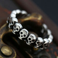 9# Fashion Punk Gothic Lot Skull Simple Biker Men's Silver Stainless Steel Ring